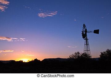 moinho de vento, girar, rapidamente, pôr do sol