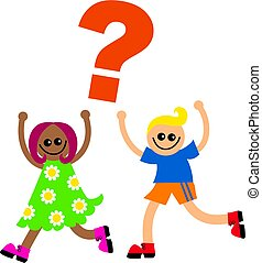 Question Kids - Cute illustration of two happy and diverse...