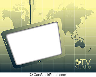 TV studio - The television screen and map world on a green...