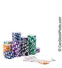 Poker - The poker table and a card, ace, gambling