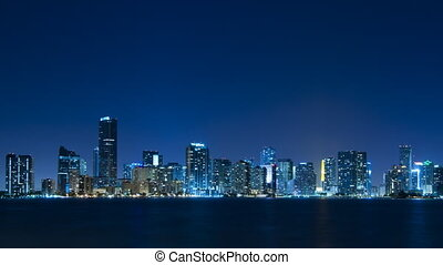 Time lapse of Miami skyline - zoom - Time lapse of the Miami...