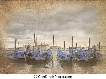 Retro grunge effect photo of Gondloas at Saint Mark's Square, San Marco Piazza Venice Italy under stormy sky