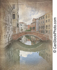 Retro grunfe effect photo of Reflections in still canal of...