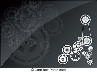 Gear - White machinery on the black background