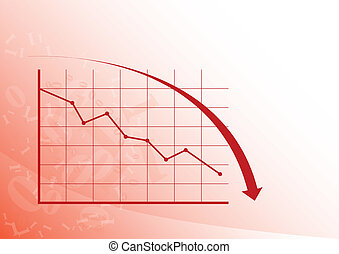 Graph down - Red graph is falling down on the white...