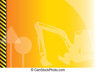 construction - Orange background with construction symbols