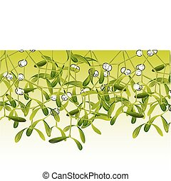 mistletoe - Green mistletoe on green and white background