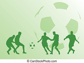 football players - Green siolnouettes of football players on...