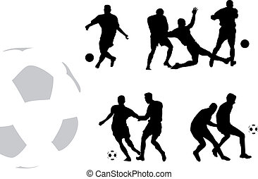 football players - Black silhouettes of football players...