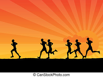 running - Black silhouette of running men.
