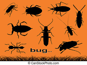 bugs - Black silhouettes of various bugs.