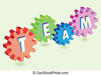 gears as team work metaphor - abstract gears interact as...