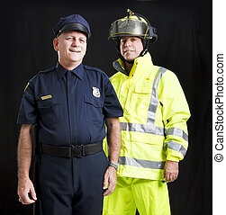 Men Who Serve - Police officer and firefighter photographed...