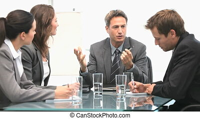 Businessteam working together during a meeting in an office