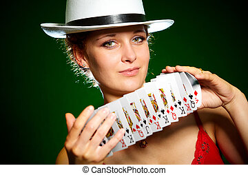 girl and playing cards - Photo of the girl with playing...