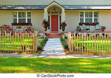 Front entryway of a home - Entryway of a meticulously kept...