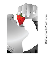 girl eating a strawberry vector