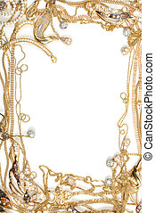 Gold frame - Fashion yellow gold jewelry frame, isolated on...