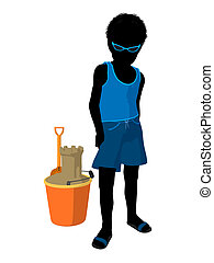 African American Beach Boy Silhouette Illustration