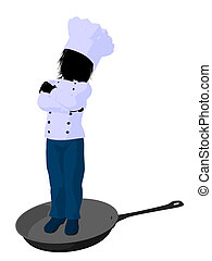 Boy Chef Silhouette Illustration - Boy chef in a skillet on...