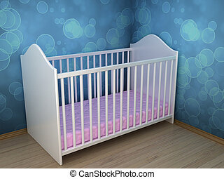 Children's bed - Illustration of a bed for the child in a...