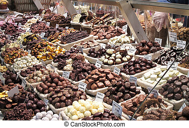 Gourmet chocolate - gourmet chocolate on display in a local...