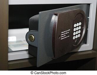 Door Of Safe - Opened door of small safe in hotel room