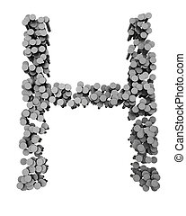 Alphabet made from hammered nails, letter H - Alphabet made...