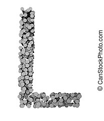Alphabet made from hammered nails, letter L - Alphabet made...
