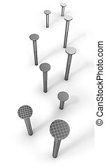 Path of hammered nails isolated on white