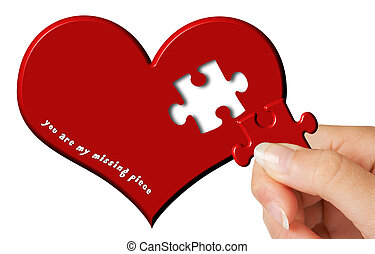 Burn-out - Valentine wish with a missing piece in a red...