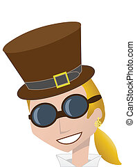 Smiling Steampunk Woman wearing bro