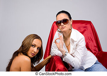 Two Girl Passion - tomboy style - Two sexy women in tomboy...