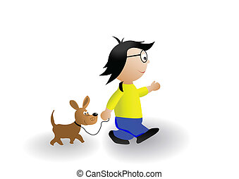 Vector illustration a Little boy and a dog walking