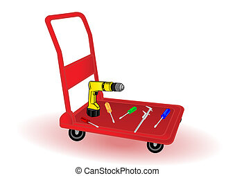 Vector illustration the replacement tool on a wheelbarrow