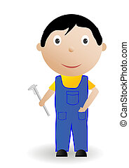 Vector illustration the boy with the tool.