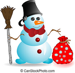 Illustration the Snowman of blue colour with red bow