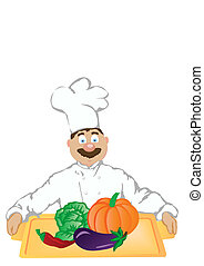 The vector illustration the cheerful cook holds a tray with vegetables.