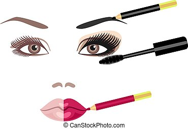 Mascara - set for makeup of brushes and mascara