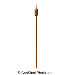 Tiki Torch Illustration - Tiki torch illustration on a white...