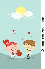 Valentine's heart gift, girl giving a gift to a boy