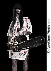 horrific madwoman - horrific madwoman on a dark background...