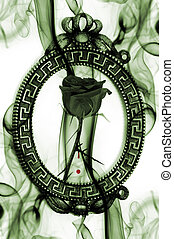 emo rose - a black rose into a vintage frame with blood and...