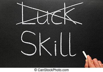 cruzamento, saída, sorte, escrita, Habilidade