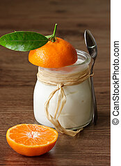 Homemade yoghurt with a tangerine - Yoghurt with a tangerine...