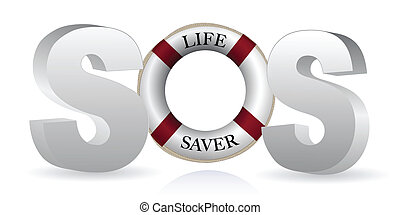 SOS Life Saver isolated over white