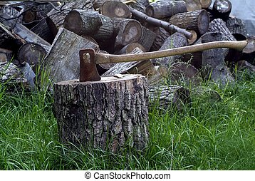 Axe splitting wood - An axe stuck in a log in front of a...