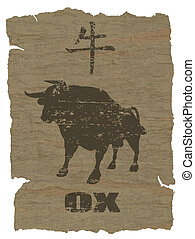 Ox Zodiac icon on texture of old canvas