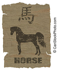 Horse Zodiac icon on texture of old canvas