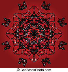 Red kaleidoscope butterflies - Kaleidoscope pattern of red...